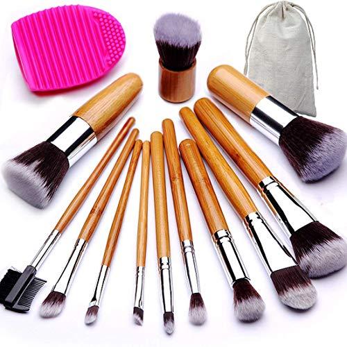 BEAKEY Lot de brosse de maquillage Poignée en bambou synthétique Premium Kabuki Fond de teint Mélange Blush Fard à paupières Concealer Poudre Brosse avec 1 brosse et à œufs 1 Secret Cadeau 12 + 2 pcs