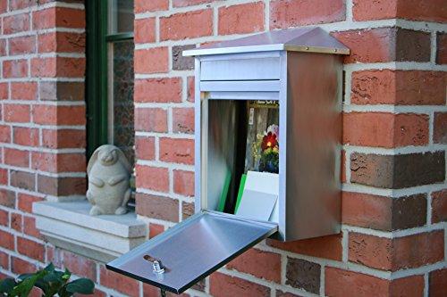 Edelstahl Briefkasten mit extrabreitem Briefschlitz für Zeitungen & Kataloge, Maße 33,3x19x44cm - 8