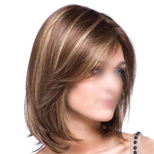 F-blue Frauen Perücke Mädchen Gerade Mitte Mitte Perücken Perücke Lange Haare mit Pony Mixed Golden + Brown - Golden Brown-haar-perücke