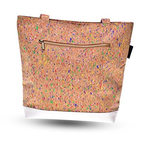 lila Tulpe - Schultertasche Ruby / hochwertige Damen Handtasche / Umhängetasche mit Reißverschluss aus Kork und veganem Leder / leicht, vegan und nachhaltig - 3