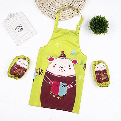 SunnyGod Hausfrau-Schürze Animals Printed Schürze Anzug - Waterproof Schürze mit Ärmelschoner...