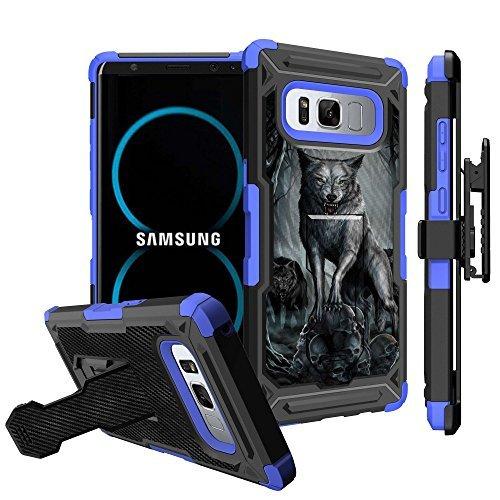 untouchble Schutzhülle für Blau Samsung Galaxy Note 8Blau Holster Fall [Tactical Armor] Dual Layer Note 8Hybrid Hülle mit Ständer Robuste Holster Gürtelclip, Midnight Wolf -