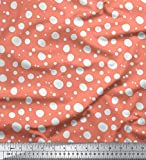 Soimoi Orange Seide Stoff Weiß dots Stoff Meterware 42