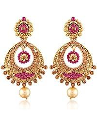 I Jewels Gold Plated Chandbali Earrings for Women E2326Q1 (Pink)