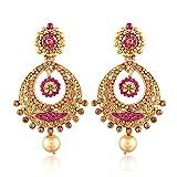 #6: I Jewels Gold Plated Chandbali Earrings for Women E2326Q1 (Pink)