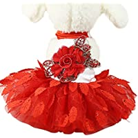 75437cd85e33 Xmiral Abito da Sposa Pet per Cani di Piccola Taglia Gonna in Pizzo Party  Princess Pet