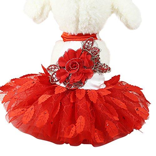 Xmiral Abito da Sposa Pet per Cani di Piccola Taglia Gonna in Pizzo Party Princess Pet Apparel Rosso S