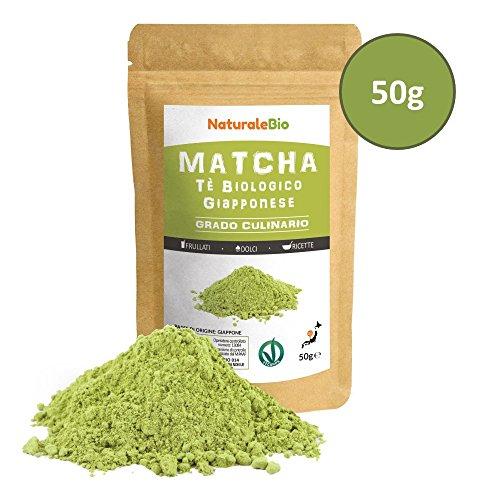 Matcha Tee Pulver Bio [ Cooking-Qualität ] 50 GR | Original Green Tea aus Japan | Japanischer Matcha Ideal zum Smoothies – Shakes – Latte | Tee hergestellt in Japan Uji, Kyoto | NATURALEBIO®