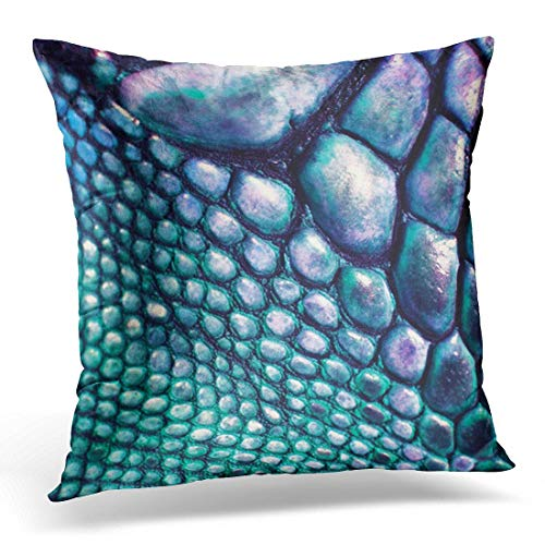 Cupsbags Throw Pillow Cover Colorful Tribal Blue Green Faux Lizard Leather Fabrics Decorative Pillow Case Home Decor Square 18x18 Inches Pillowcase -