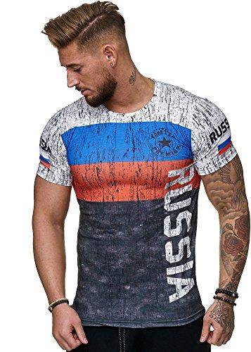 Herren T-Shirt Flag Slim Fit - Russia Russland Sbornaja WM 2018 WC Weltmeisterschaft World Cup (S, Russia)
