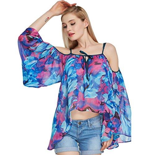 Jiayiqi Frauen Blumen Chiffon T Shirt Oberseiten Weg Von Der Schulter Beiläufigen Bluse Blau