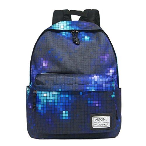 Artone Gradient Gitter Grösse Kapazität Gepolstert Rucksäcke Schulranzen Daypack Passen 14 Laptop Grün Tunkelblau Gitter