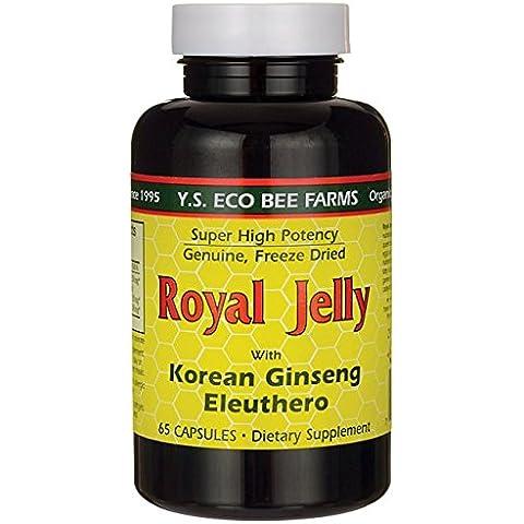 Royal Jelly 200 mg + Ginseng (Siberian 200mg, Korean 100mg) Y.S. Organic Bee Far, 65 Capsules by YS Eco Bee Farms