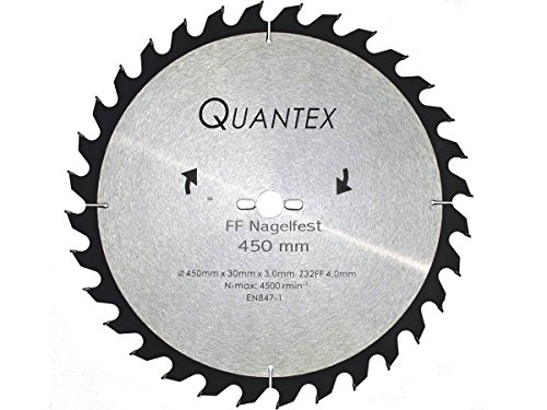 Kreissägeblatt NAGELFEST ø 450mm x 30mm mit speziellen HM nagelfesten FF Flachzahn Fase Zähnen. Baustellensägeblatt – Brennholzsägeblatt.