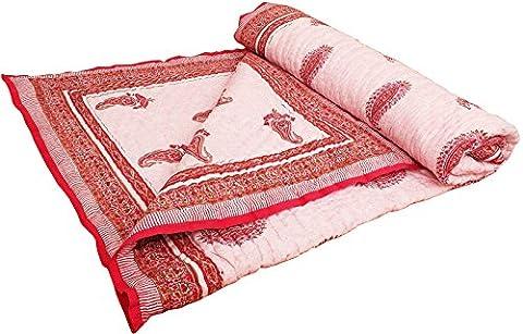 Pure Cotton Paisley Design Hand Block Reversible Double Bed Quilt