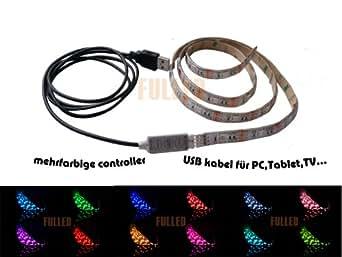 1.5M 150cm RVB LED Bande de lumière a alimentation USB bande flexible pour TV PC Tab