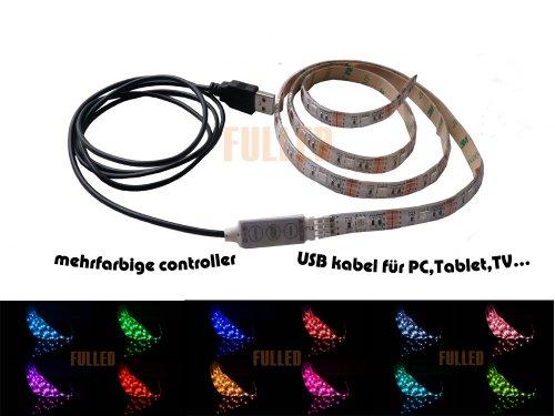 LED Leiste Streifen licht RGB Stripe 2M Mehrfarbig wasserdicht+ MINI Controller + USB 2.0 Kabel
