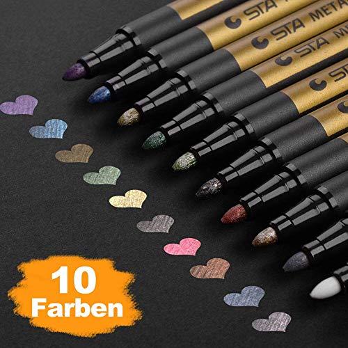 allic Marker, 10 Farben Metallischen Stift Pens für Kartenherstellung DIY Fotoalbum Gästebuch Hochzeit Papier Glas Kunststoff Stein - MITTELBREITE Spitze (2 mm) ()