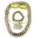 Panelize® Mega Babo Lude Macho Prolethen HipHop Rapper Set 5 teilig Ketten Brille Armband