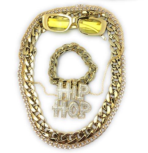 Daddy Kostüm Puff - Panelize® Mega BABO Lude Macho Prolethen Hiphop Rapper Set 5 teilig Ketten Brille Armband