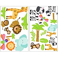 25 Teiliges Safari Tiere Wandtattoo Set Giraffe Wandsticker Löwe  Kinderzimmer Jungle In 4 Größen (