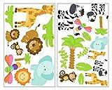 25-teiliges Safari Tiere Wandtattoo Set Giraffe Wandsticker Löwe Kinderzimmer jungle in 4 Größen (2x33x52cm mehrfarbig)