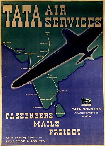 india-tata-air-services-passangers-mail-freight-tata-sons-bombay-reproduccion-sobre-calidad-200gsm-d