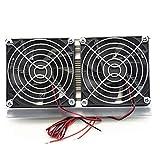 Thermoelectric Peltier Sistema di raffreddamento Kit di raffreddamento a semiconduttore Grande radiatore Modulo di conduzione a freddo Doppi ventilatori, nero