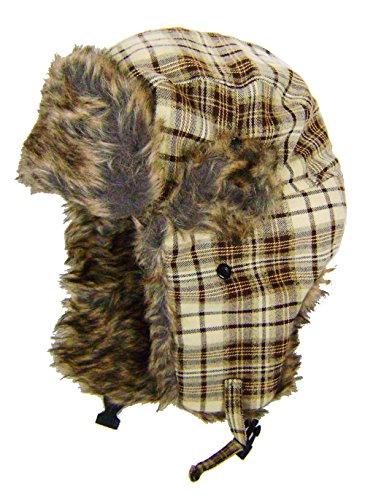 modestone-plaid-warm-trapper-bomber-hat-faux-fur-trim-o-s-beige