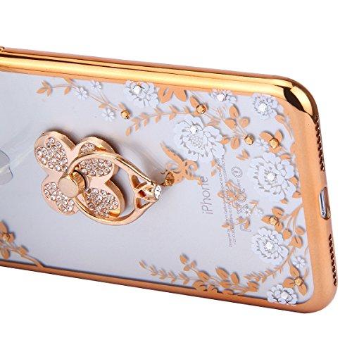 iPhone 7 Plus Hülle,iPhone 7 Plus Case,iPhone 7 Plus Bling Tasche - Felfy Ultra Ultra Dünn Transparent Luxus PC Plastic Kunststoff Tasche Bling Strass Schutz Schutzhülle Case Hülle Tasche Diamant Löwe Klee Weiße Blume