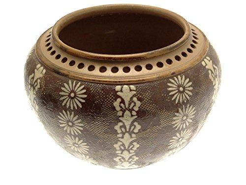 Doulton Vase (ca. 1880Doulton Lambeth großen Topf Vase oder Übertopf braun und Creme mit durchbrochen Rand)