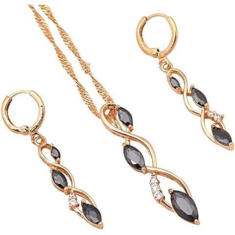 Bling fashion Special Nero Onice donne set di gioielli collana e orecchini placcato oro 18K zirconi Fashion Jewelry Cena fornitore js436a