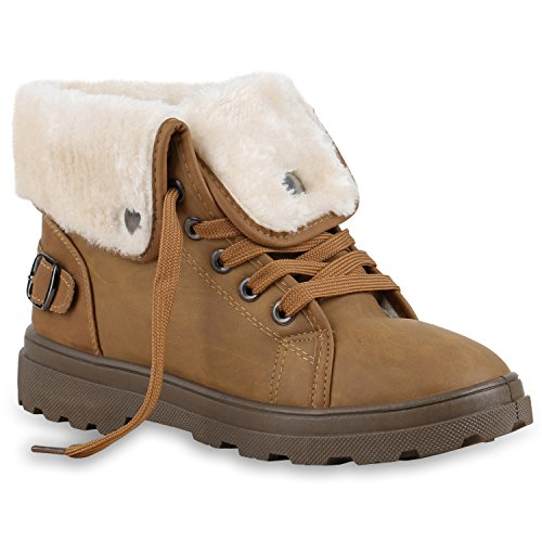 Damen Stiefeletten Stiefel Worker Boots Warm Gefüttert Kunstpelz Hellbraun Weiss