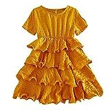 LEXUPE Kleinkind Kind Baby Mädchen Kurzarm Floral Cartoon gedruckt Prinzessin Kleid Kleidung(Gelb,100/7)