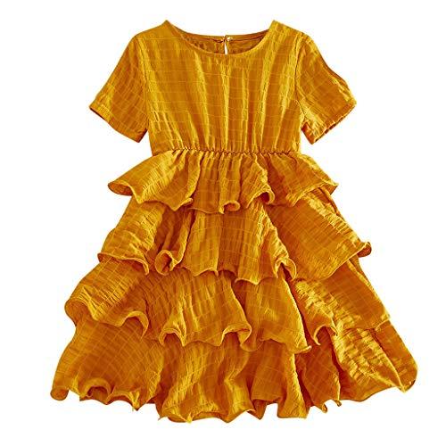 Mitlfuny Maedchen Audrey 1950er Vintage Hepburn Kleid Prinzessin Ballett Tutu Rock Party,Kleinkind Kind Baby Mädchen Kurzarm Floral Cartoon gedruckt Prinzessin Kleid (Umbrella Girl Kostüm)