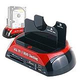 WANLONGXIN WLX-876C-DE USB 2.0 à SATA Externe Disque Dur Station d'accueil avec Lecteur de Cartes et Hub USB 2.0, Pour 2.5 3.5 Pouces SATA HDD SSD Jusqu'à 2x8TB, Supporte Hors ligne Cloner