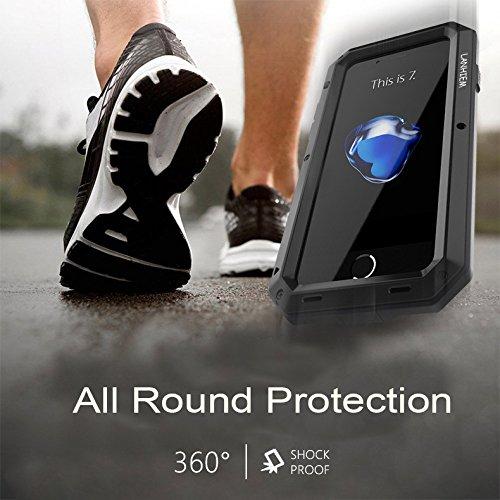 Cover iPhone 7 Plus, Cover iPhone 8 Plus, Lanhiem [Military-Grade & Anti-Graffio] Completa Design Massima Protezione Da Cadute e Urti, Custodia iPhone 7 Plus, Custodia iPhone 8 Plus, Nero Argento