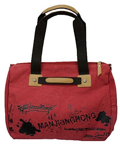 Minetom Signore delle donne della spalla Grande Canvas Handbag Tote Bag tempo libero studenti zaino borsa Vintage Canvas Messenger Rosso