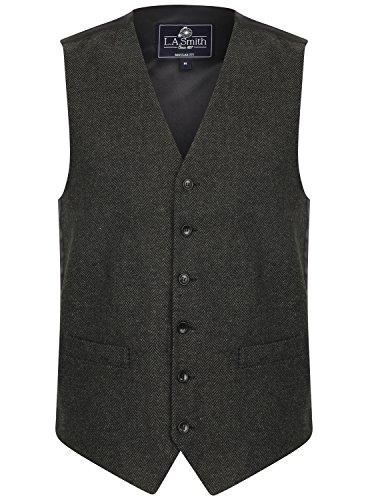 Herren Weste Grau Tweed Fischgräte Design (Größe M) Smith Weste