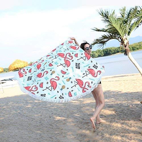Yansion manta de playa Toalla de playa redonda con flamencos a prueba de arena
