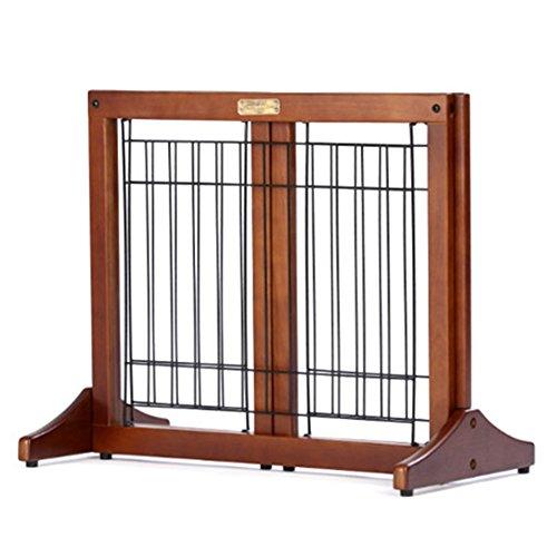Barrière de sécurité Porte En Bois Autoportante De Chien D'animal Familier/Porte Supplémentaire Large 30-110cm Large Et 51cm Haut Brown