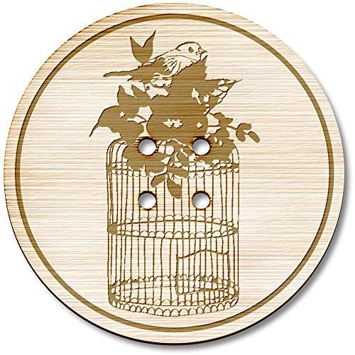 Azeeda 3 x 38mm 'Blumen Vogelkäfig' Groß Runde Holz Knopfe (BT00068330) (Vogelkäfige Runde Große)