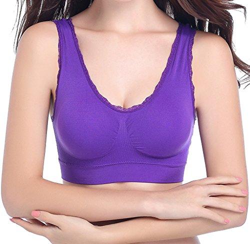 Pour un confort sans couture bordure en dentelle extensible sans fil LOISIRS Sports Soutien-gorge de nuit Violet - Violet