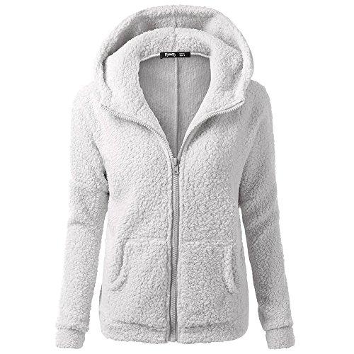 YEBIRAL Frauen Winter beiläufige Art und Weise mit Kapuze Strickjacke-Mantel-warme Kaschmir-Wolle Zipper einfarbig Mantel Baumwollmantel Outwear(EU-36/CN-S,Hellgrau)