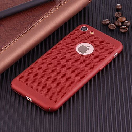Wkae Leichter, atmungsaktiver voller Abdeckung PC Shockproof schützender rückseitiger Abdeckungs-Fall für iPhone 7 ( Color : Gold ) Red