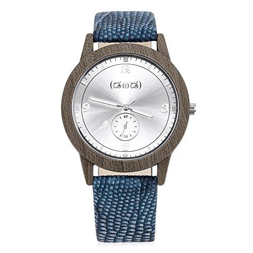 Smileyes Damenuhr Leder Armband Kupfer Armbanduhr Quarz Analog Uhr (Herren-leder-kupfer-armband)