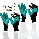 Garten Handschuhe (2 Paar klein/mittelgroß-Größe 6-7.5'), Eiito gartenhandschuhe mit klauen...