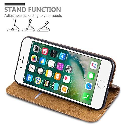 Apple iPhone 8 / 7 / 7S Hülle in ERD-BRAUN von Cadorabo - Handy-Hülle mit unsichtbarem Magnet-Verschluss , Standfunktion und Karten-Fach Case Cover Schutz-hülle Etui Tasche Book Klapp Style ERD-BRAUN
