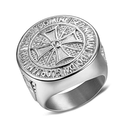 BOBIJOO Jewelry - Großer Ring Siegelring Mann, der Orden der Templer Brutto Kreuz Malta Stahl-Silber - 20,1 (10 US), Edelstahl 316