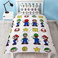 Official Super Mario Single Duvet Cover Design | Reversible Two Sided Mario & Luigi White Bedding Duvet Cover With Matching Pillow Case